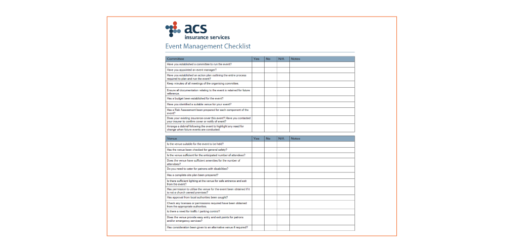 Event Management Checklist for churches in Australia